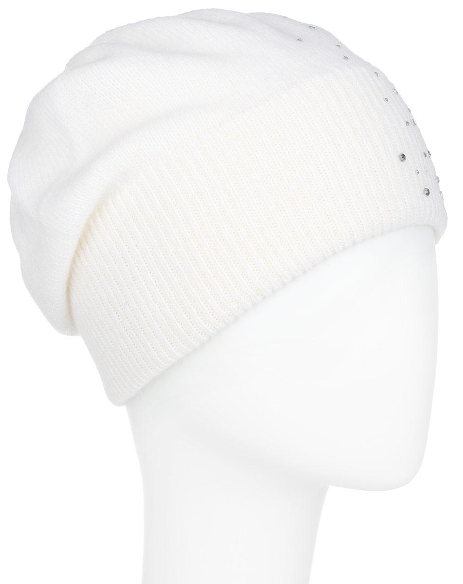 Шапка женская Finn Flare, цвет: молочный. A16-32120_201. Размер 56A16-32120_201Стильная женская шапка Finn Flare дополнит ваш наряд и не позволит вам замерзнуть в холодное время года. Шапка выполнена из высококачественной пряжи, что позволяет ей великолепно сохранять тепло и обеспечивает высокую эластичность и удобство посадки. Модель оформлена россыпью страз и металлической эмблемой с логотипом производителя. Понизу предусмотрена вязаная резинка.Такая шапка станет модным и стильным дополнением вашего гардероба. Она согреет вас и позволит подчеркнуть свою индивидуальность!