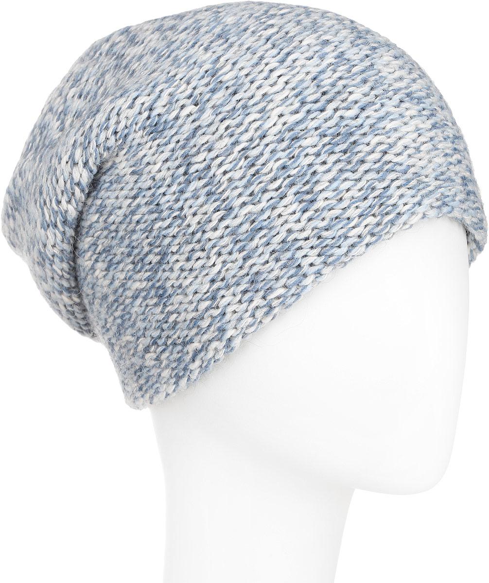 Шапка женская Finn Flare, цвет: голубой меланж. A16-12134_138. Размер 56A16-12134_138Стильная женская шапка Finn Flare дополнит ваш наряд и не позволит вам замерзнуть в холодное время года. Шапка выполнена из высококачественной комбинированной пряжи, что позволяет ей великолепно сохранять тепло и обеспечивает высокую эластичность и удобство посадки. Модель с удлиненной макушкой оформлена металлической эмблемой с логотипом производителя. Такая шапка станет модным и стильным дополнением вашего гардероба. Она согреет вас и позволит подчеркнуть свою индивидуальность!