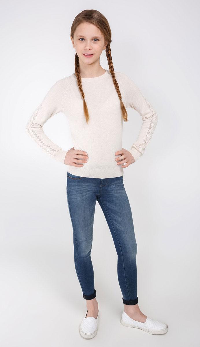 Джемпер для девочки Acoola Furia, цвет: бежевый. 20210310023_800. Размер 15820210310023_800Джемпер Acoola Furia прекрасно подойдет для прохладной погоды. Натуральный материал приятен к телу и не сковывает движений ребенка. Мягкие резинки на манжетах и на горловине обеспечивают сохранность формы изделия. Рукава оформлены ажурной вязкой