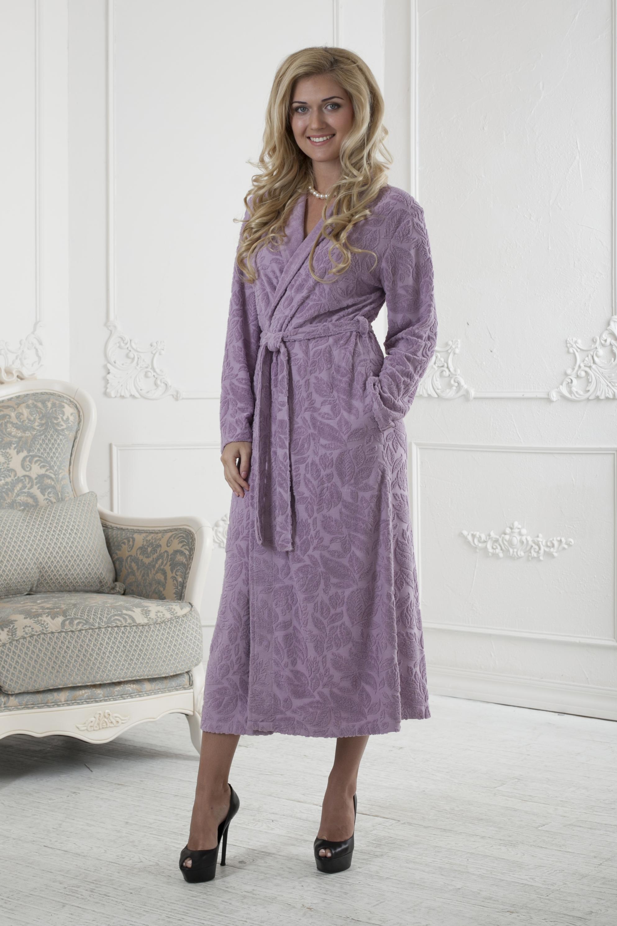 Халат женский Five Wien Home, цвет: розовый. 411. Размер L/XL (48/52)411Очень мягкий и приятный женский халат из трикотажного бамбука. Очень элегантная и женственная модель. Объемная текстура по всему халату.