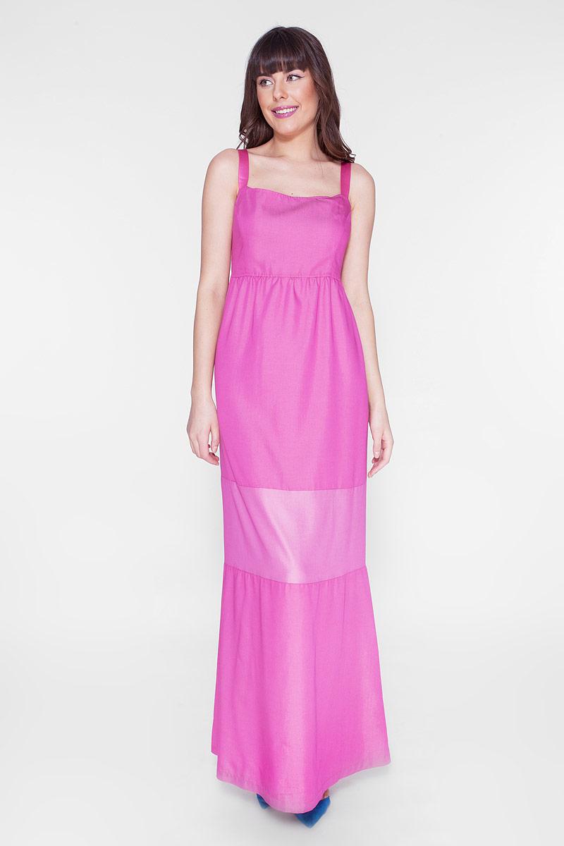 Платье Vis-A-Vis, цвет: розовый. D15-532. Размер S (44)D15-532Макси-платье без рукавов выполнено из качественного материала. В качестве бретелей - широкая стильная резинка.