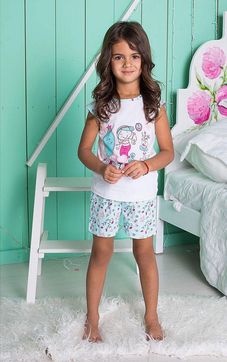 Комплект одежды195602Уютный комплект для девочки, состоящий из футболки и шорт, выполнен из трикотажного материала. Футболка с круглым вырезом горловины и короткими руками оформлена принтом. Шорты имеют эластичный пояс с регулируемым шнурком.