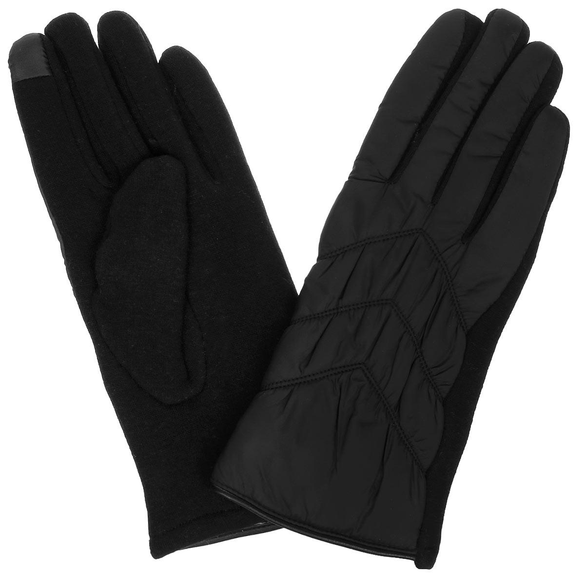 Перчатки женские Finn Flare, цвет: черный. A16-11304_200. Размер 7A16-11304_200Отличные женские перчатки Finn Flare выполнены из высококачественного материала. Внешняя сторона из болоньевого материала оформлена декоративной прострочкой. Ладонная сторона - из эластичного текстиля. Внутри - необыкновенно мягкий ворс.Такие перчатки обеспечат вам тепло и комфорт.