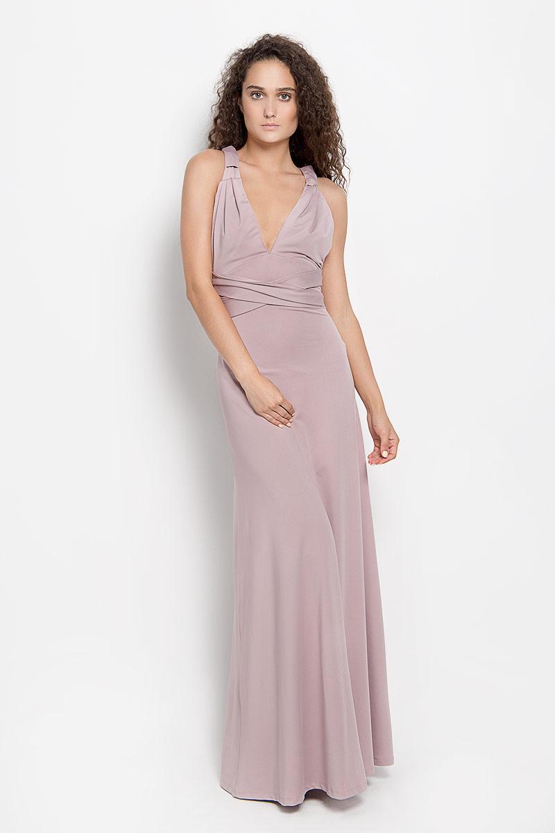 Платье Ruxara, цвет: серо-розовый. 103200_60. Размер 42103200_60Стильное платье-макси Ruxara, выполненное из высококачественного комбинированного материала, поможет создать отличный современный образ.Модель-трансформер с глубоким V-образным вырезом горловины дополнена широкими длинными лентами, которые можно завязать различными способами. Такое платье поможет создать яркий и привлекательный образ, в нем вам будет удобно и комфортно.