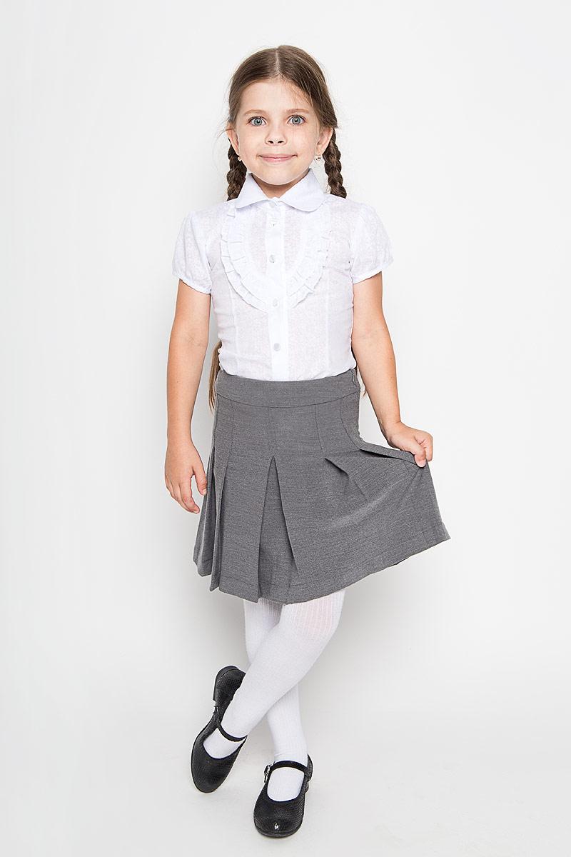 Юбка для девочки Nota Bene, цвет: серый. CWA26002A-20. Размер 140CWA26002A-20/CWA26002B-20Классическая юбка для девочки Nota Bene идеально подойдет вашей моднице и станет отличным дополнением к ее школьному гардеробу. Изготовленная из полиэстера и вискозы с добавлением лайкры, она мягкая и приятная на ощупь, не сковывает движения и позволяет коже дышать, не раздражает нежную кожу ребенка, обеспечивая наибольший комфорт. Модель-миди застегивается на застежку-молнию, расположенную сбоку. С внутренней стороны пояс регулируется эластичной резинкой с пуговицами. Изделие оформлено широкими складками.В такой модной юбке ваша дочурка будет чувствовать себя комфортно, уютно и всегда будет в центре внимания!