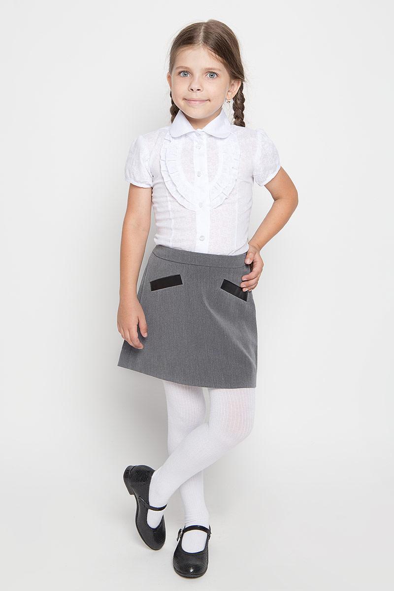 Юбка для девочки Orby School, цвет: серый. 64124_OLG, вариант 1. Размер 170, 13-14 лет64124_OLG,вариант 1Юбка для девочки Orby School идеально подойдет вашей моднице и станет отличным дополнением к ее школьному гардеробу. Изготовленная из высококачественного комбинированного материала, она мягкая и приятная на ощупь, не сковывает движения, не раздражает нежную кожу ребенка, обеспечивая наибольший комфорт. Модель-миди застегивается на потайную застежку-молнию сбоку. С внутренней стороны пояс регулируется эластичной резинкой с пуговицами. Спереди изделие оформлено имитацией втачных карманов.В такой модной юбке ваша дочурка будет чувствовать себя комфортно, уютно и всегда будет в центре внимания!