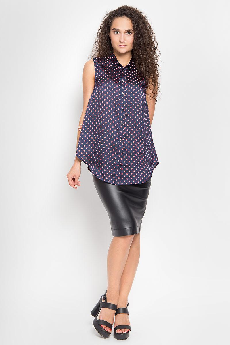 Блузка1202641_22Стильная блузка Ruxara, выполненная из микрофибры, поможет создать отличный современный образ в стиле Casual. Модель с отложным воротником и без рукавов спереди застегивается на пуговицы. Изделие оформлено оригинальным принтом в горох. Такая блузка поможет создать яркий и привлекательный образ, в ней вам будет удобно и комфортно.