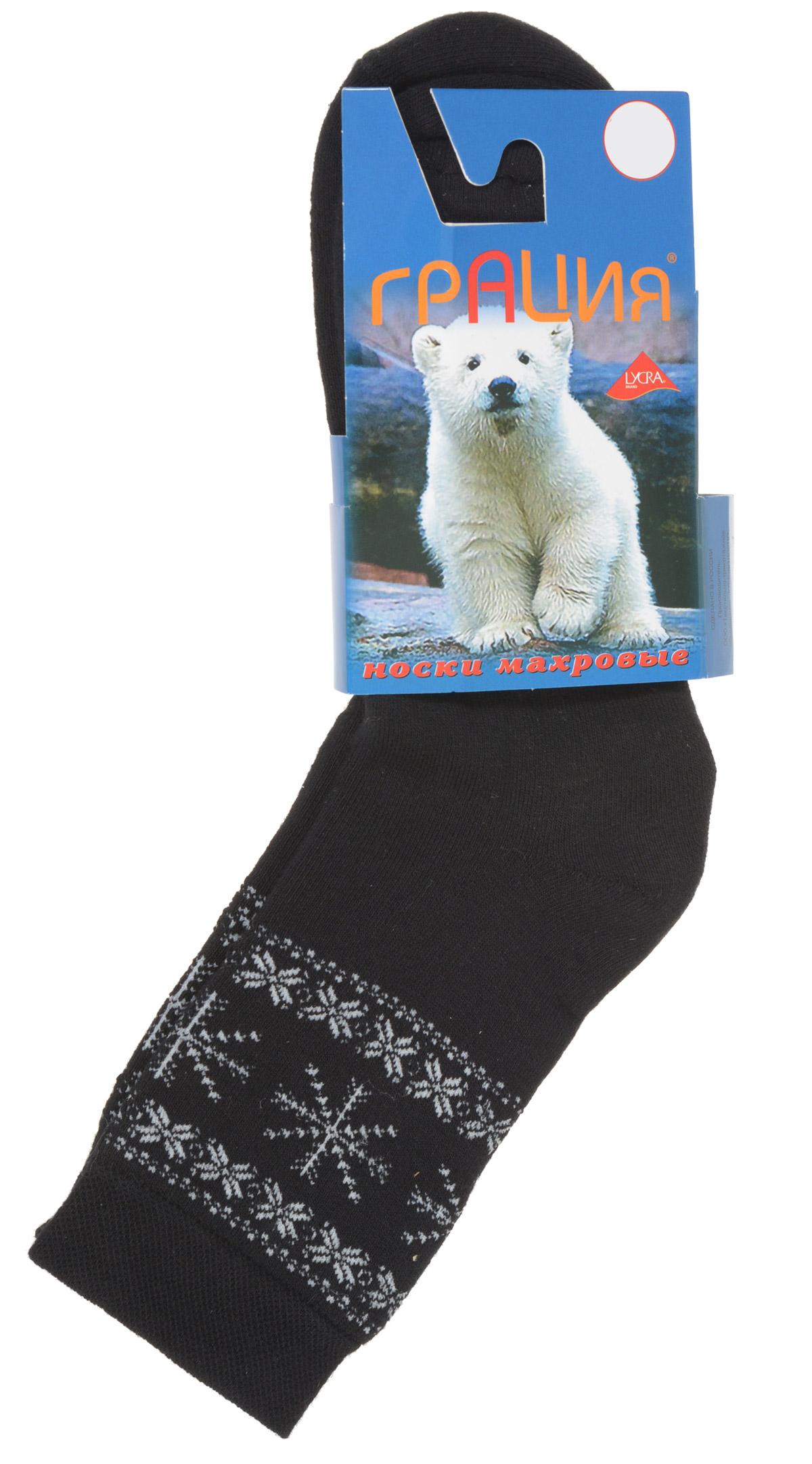 Носки женские Грация, цвет: черный, белый. М 1011. Размер 1 (35/37)М 1011Теплые женские носки Грация, изготовленные из высококачественного комбинированного материала, очень мягкие и приятные на ощупь, позволяют коже дышать. Эластичная резинка плотно облегает ногу, не сдавливая ее, обеспечивая комфорт и удобство. Махровые носки с удлиненным паголенком, который оформлен орнаментом из снежинок.Удобные и комфортные носки великолепно подойдут к любой вашей обуви.