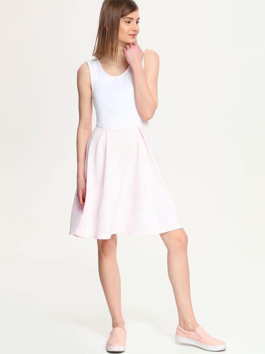 Платье Troll, цвет: белый, светло-розовый. TSU0518RO. Размер XL (50)TSU0518ROПлатье Troll выполнено из полиэстера с добавлением эластана. Платье-миди с круглым вырезом горловины застегивается на застежку-молнию расположенную в среднем шве спинки. Юбка модели оформлена встречными складками.