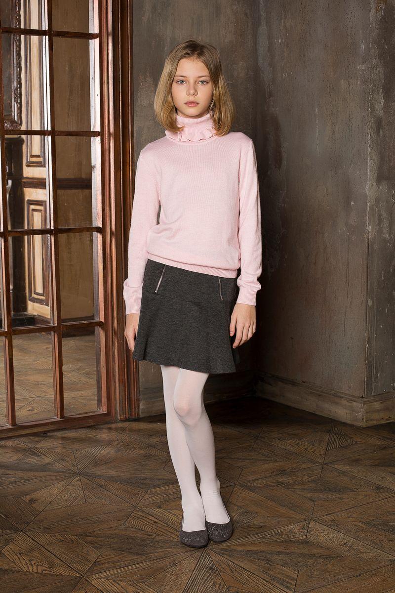Юбка для девочки Luminoso, цвет: темно-серый меланж. 205642. Размер 152205642Юбка для девочки Luminoso на кокетке из качественного натурального трикотажа, декорированная функциональными молниями.