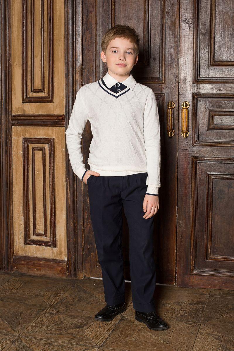 Пуловер206614Стильный классический вязаный пуловер Luminoso с V-образным вырезом горловины и с рельефным рисунком на полочке. Манжеты и низ изделия связаны эластичной резинкой.