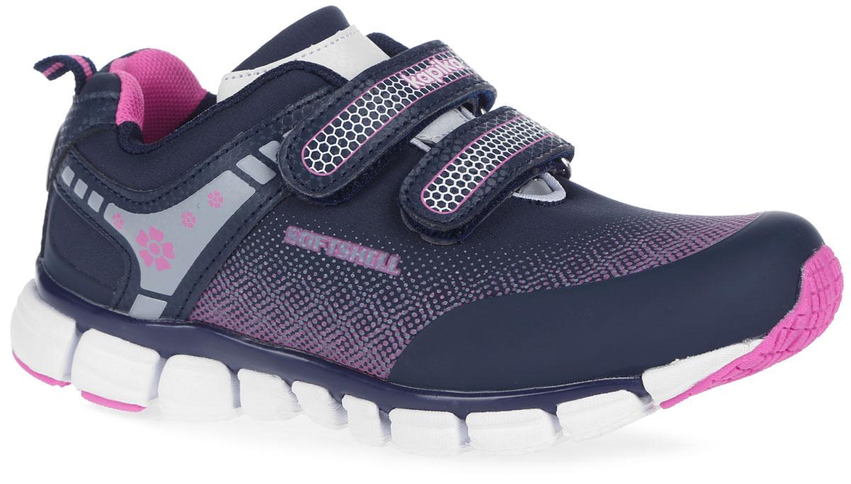 Кроссовки для девочки Kapika, цвет: темно-синий, розовый. 73225. Размер 3473225Яркие кроссовки от Kapika заинтересуют вашу девочку с первого взгляда. Модель выполнена из качественного текстиля и искусственной кожи. Кроссовки оформлены нашивками с оригинальным принтом. На ноге модель фиксируется с помощью удобных ремешков на застежках-липучках, одна из которых оформлена надписью с названием фирмы. Ярлычок на заднике облегчает надевание обуви. Мягкий манжет создает комфорт при ходьбе и предотвращает натирание ножки ребенка. Стелька из натуральной кожи дополнена небольшим супинатором с перфорацией, который обеспечивает правильное положение стопы ребенка при ходьбе и предотвращает плоскостопие. Легкая и гибкая подошва из ЭВА-материала обеспечивает отличную амортизацию и поглощение ударов. Вставки из ТЭП-материала гарантирует отличное сцепление с любой поверхностью.Такие модные и практичные кроссовки займут достойное место в гардеробе вашего ребенка.