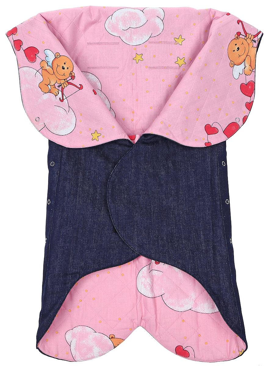 Конверт для новорожденного Ramili Denim Style, цвет: темно-синий, розовый. KRDS02S. Размер 0/6 месяцевKRDS02SКонверт-лепесток для новорожденного Ramili Denim Style станет замечательным дополнением к детскому гардеробу. Снаружи конверта используется высококачественная джинсовая ткань, внутри - хлопок на мягком утеплителе. Материал тактильно приятный, не раздражает нежную кожу ребенка. На конверте предусмотрен карман для ножек малышки, который фиксируется на застежки-кнопки. Верхняя часть конверта с помощью кнопок образует капюшон. Изделие легко раскладывается, благодаря чему его можно использовать в качестве коврика для пеленания или игр. Застежки в виде липучек и кнопок позволяют быстро зафиксировать конверт и обеспечивают надежное облегание, которое не ограничивает движения ребенка и подарит ему чувство тепла, комфорта и защищенности. Детский конверт оснащен прорезями для ремней безопасности. В прорезях может быть и не возникнет необходимости, поэтому для прорезей подготовлены специальные области, а наносить прорези или оставить конверт без них родители могут решить сами. Модель оформлена с внутренней стороны принтом с изображением забавных медвежат. Многофункциональный и удобный конверт идеально подойдет для первых месяцев жизни младенца. В таком современном конверте маленькая принцесса будет выглядеть очень стильно.