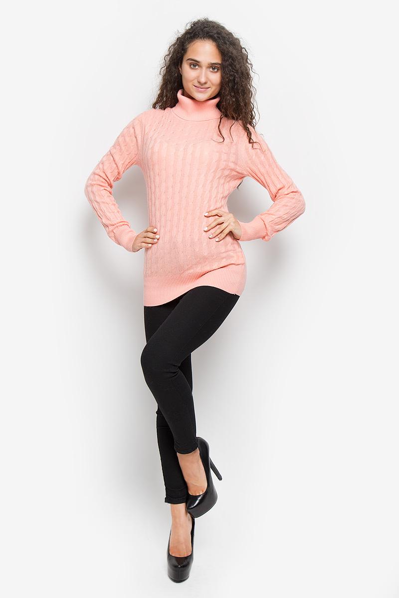 Водолазка женская Baon, цвет: розовый. B136707. Размер S (44)B136707_Dawn PinkОригинальная женская водолазка Baon, изготовленная из высококачественной пряжи, мягкая и приятная на ощупь, не сковывает движений и обеспечивает наибольший комфорт.Слегка удлиненная модель с воротником-гольф и длинными рукавами великолепно подойдет для создания образа в стиле Casual. Водолазка связана косичкой, низ изделия, манжеты и воротник связаны резинкой.Эта водолазка послужит отличным дополнением к вашему гардеробу. В ней вы всегда будете чувствовать себя уютно и комфортно в прохладную погоду.