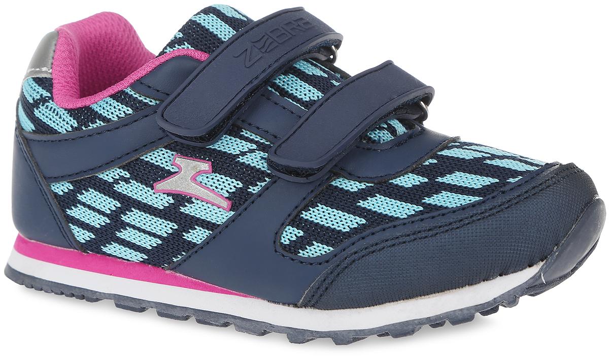 Кроссовки для девочки Зебра, цвет: голубой, синий. 10887-6. Размер 3010887-6Кроссовки от фирмы Зебра выполнены из дышащего текстиля и искусственной кожи. Застежки-липучки обеспечивают надежную фиксацию обуви на ноге ребенка. Подкладка выполнена из текстиля, что предотвращает натирание и гарантирует уют. Стелька с поверхностью из натуральной кожи оснащена небольшим супинатором с перфорацией, который обеспечивает правильное положение ноги ребенка при ходьбе и предотвращает плоскостопие. Подошва с рифлением обеспечивает идеальное сцепление с любыми поверхностями.