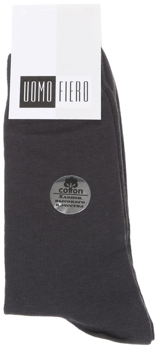 Носки мужские Uomo Fiero, цвет: темно-серый. MS023. Размер 41/43MS023Мужские носки Uomo Fiero изготовлены из высококачественного хлопка с добавлением полиамида. Носки с классическим паголенком дополнены эластичной резинкой, которая надежно фиксирует носки на ноге.