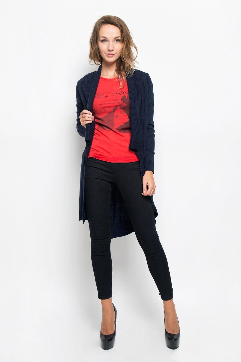 КардиганB146501_DARK NAVYКлассический женский кардиган Baon с воротником-шаль и длинными рукавами будет гармонично смотреться в сочетании как с джинсами, так и с брюками. Модель выполнена из высококачественной пряжи, мягкой и приятной на ощупь. Воротник, манжеты и низ изделия связаны резинкой, что предотвращает деформацию при носке. Спинка модели немного удлинена, по бокам имеются разрезы. В нем вы будете чувствовать себя уютно в прохладное время года.