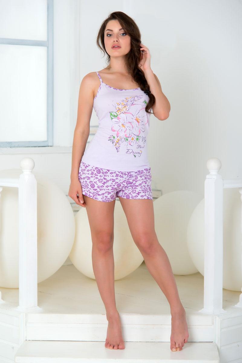 ПижамаSS16-PG-03Комфортная женская пижама Santi Бабочки изготовлена из высококачественного натурального хлопка. Пижама состоит из майки на тонких бретелях и шорт. Модель оформлена принтом с изображением цветов и бабочек.