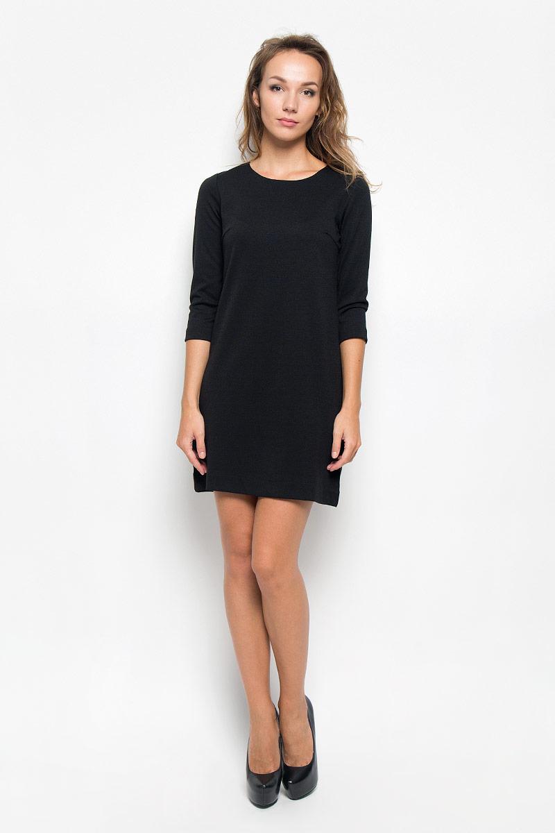 ПлатьеDK-117/1083-6322Элегантное платье Sela выполнено из высококачественного эластичного полиэстера с добавлением вискозы. Такое платье обеспечит вам комфорт и удобство при носке и непременно вызовет восхищение у окружающих. Платье превосходно тянется, обладает высокой износостойкостью и отлично сидит по фигуре. Укороченная модель с рукавами 3/4 и круглым вырезом горловины выгодно подчеркнет все достоинства вашей фигуры. Изысканное платье-мини создаст обворожительный и неповторимый образ. Это модное и комфортное платье станет превосходным дополнением к вашему гардеробу, оно подарит вам удобство и поможет подчеркнуть ваш вкус и неповторимый стиль.