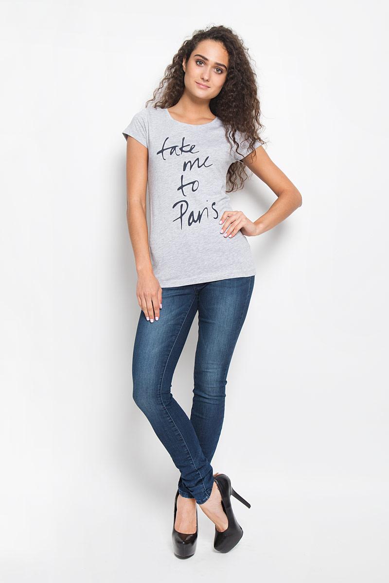 Футболка женская Tom Tailor Denim, цвет: серый меланж. 1035523.01.71_2220. Размер XL (50)1035523.01.71_2220Стильная женская футболка Tom Tailor Denim поможет создать отличный современный образ в стиле Casual. Модель, изготовленная из высококачественного материала, очень мягкая, тактильно приятная, не сковывает движения и позволяет коже дышать.Футболка с круглым вырезом горловины и короткими рукавами оформлена спереди буквенным принтом.Такая футболка станет стильным дополнением к вашему гардеробу, она подарит вам комфорт в течение всего дня!