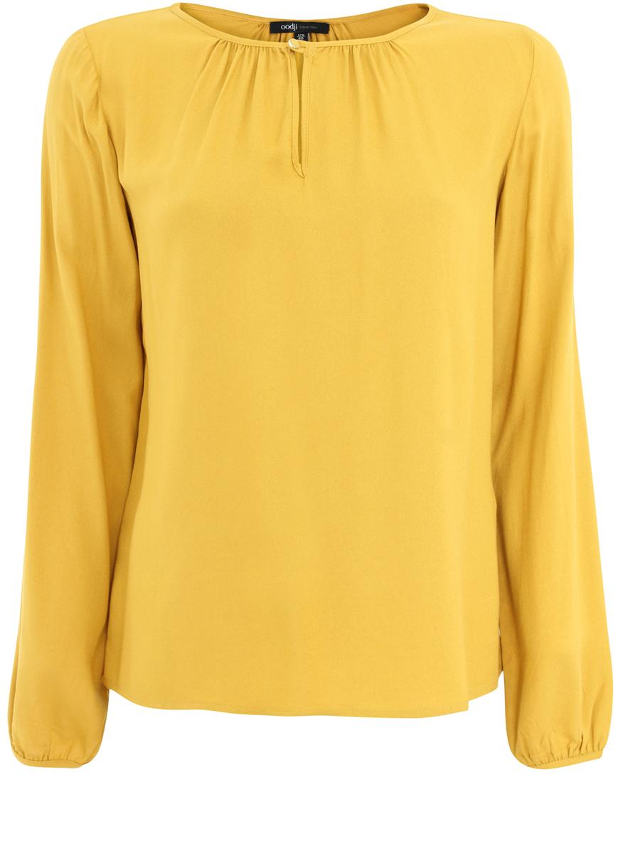Блузка21400321-4/35610/5700NСтильная женская блузка oodji Collection выполнена из вискозы. Модель свободного кроя с круглым вырезом горловины и длинными рукавами застегивается спереди на одну пуговицу. Спереди блузка оформлена декоративным вырезом.