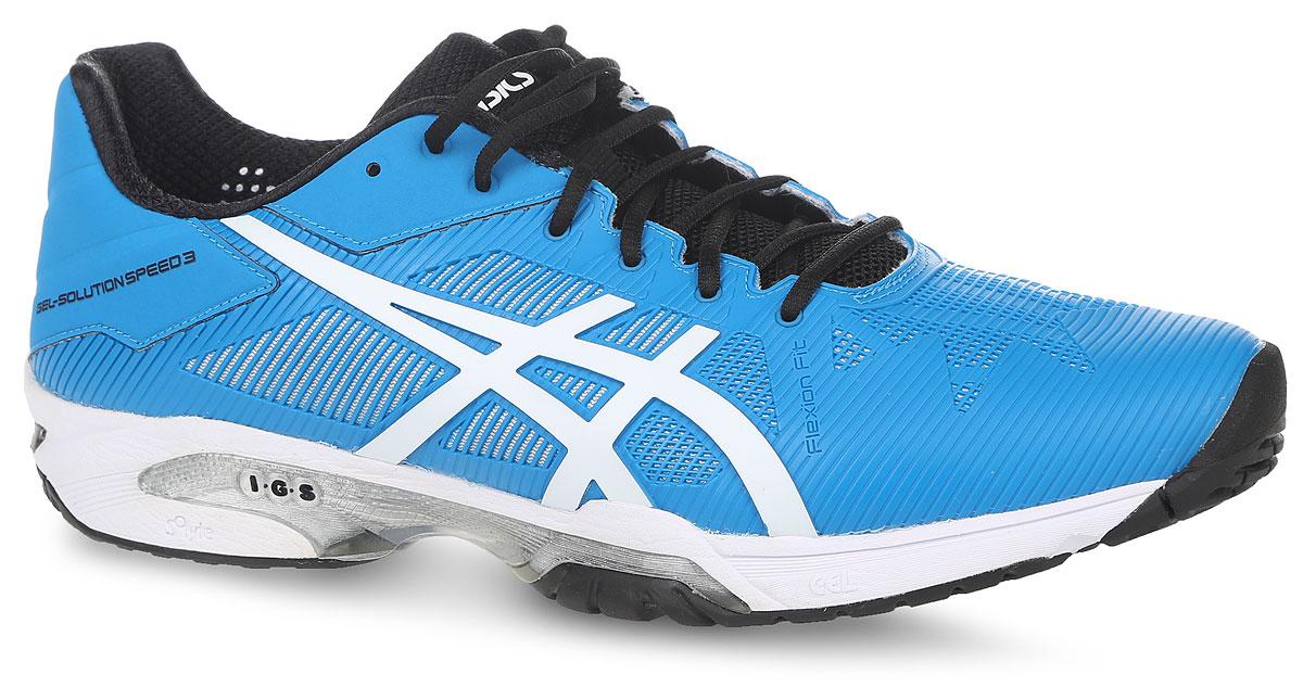 Кроссовки мужские Asics Gel-Solution Speed 3, цвет: голубой. E600N-4301. Размер 11H (44,5)E600N-4301Кроссовки Asics для активного отдыха. Модель выполнена из полимерных материалов со вставками из дышащего текстиля, что обеспечивают отличную вентиляцию. Классическая шнуровка надежно зафиксирует изделие на ноге.Удобные кроссовки - незаменимая вещь в гардеробе каждого спортсмена.