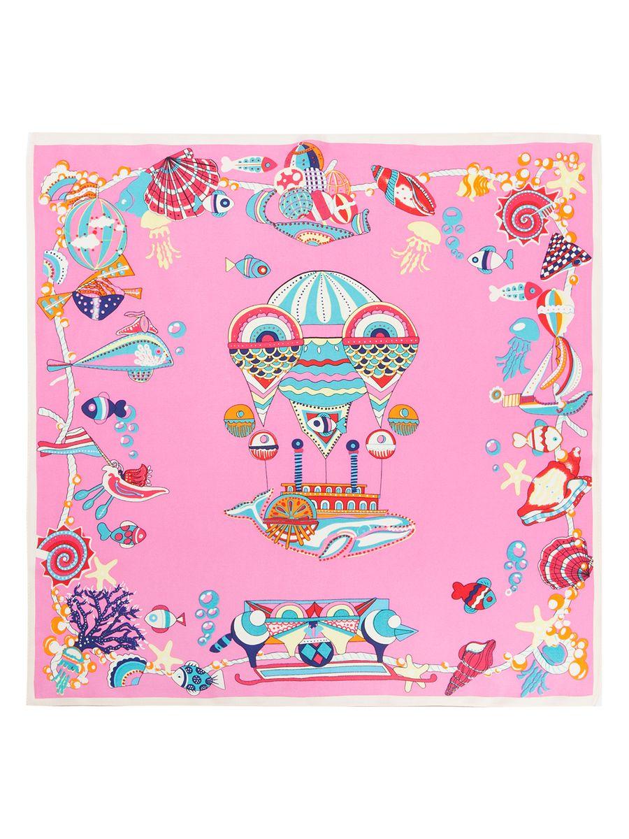 ПлатокSS03-7860Женский платок Eleganzza, изготовленный из шелка, мягкий и приятный на ощупь. Изделие оформлено принтом с морской тематикой.