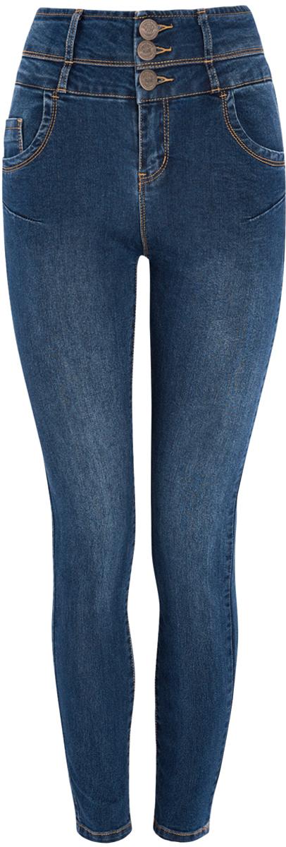 Джинсы12104053-1/18831/7500WСтильные женские джинсы oodji Denim выполнены из хлопка с добавлением полиэстера и полиуретана. Материал мягкий и приятный на ощупь, не сковывает движения и позволяет коже дышать. Джинсы-скинни с высокой посадкой застегиваются на три пуговицы в поясе и ширинку на застежке-молнии. На поясе предусмотрены шлевки для ремня. Спереди модель дополнена двумя втачными карманами и одним накладным кармашком, сзади - двумя накладными карманами. Модель оформлена контрастной прострочкой.