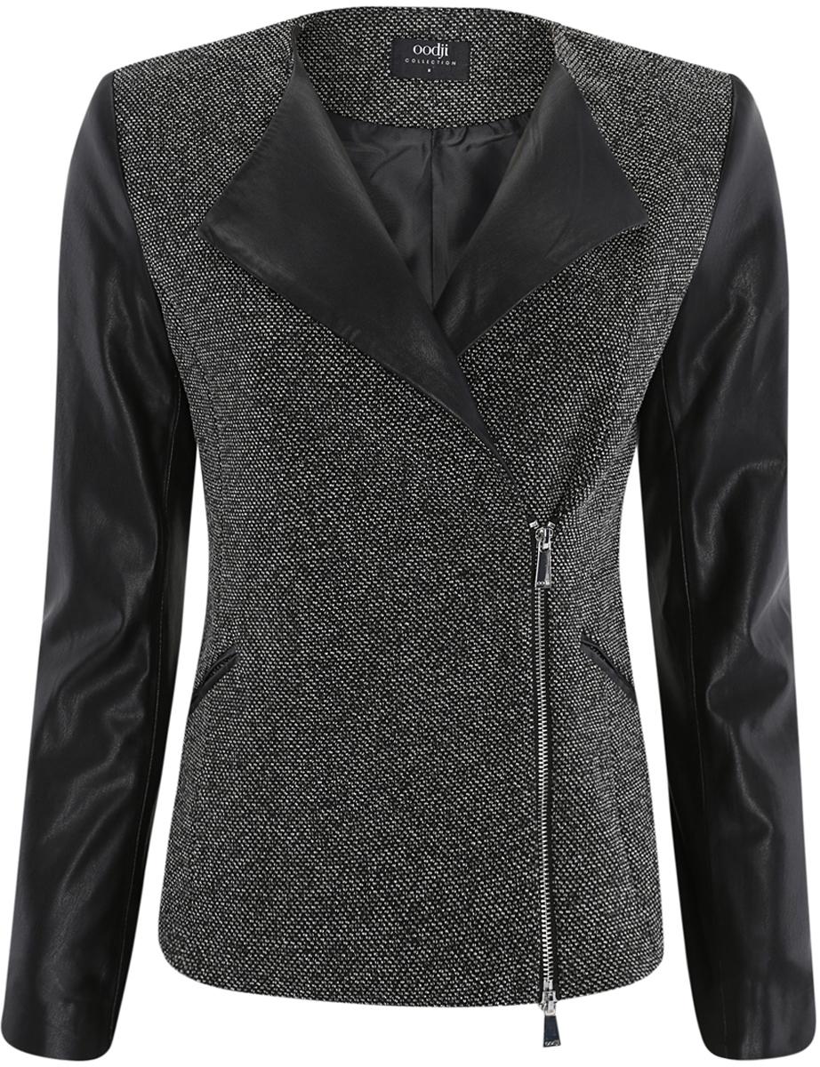 Куртка27900043-2/37844/2912BЖенская куртка oodji Collection выполнена из полиэстера с добавлением хлопка, имеет вставки из 100% полиэстера. Куртка с воротником с лацканами застегивается на застежку-молнию спереди, полочки изнутри фиксируются пуговицей. Модель дополнена двумя втачными карманами.