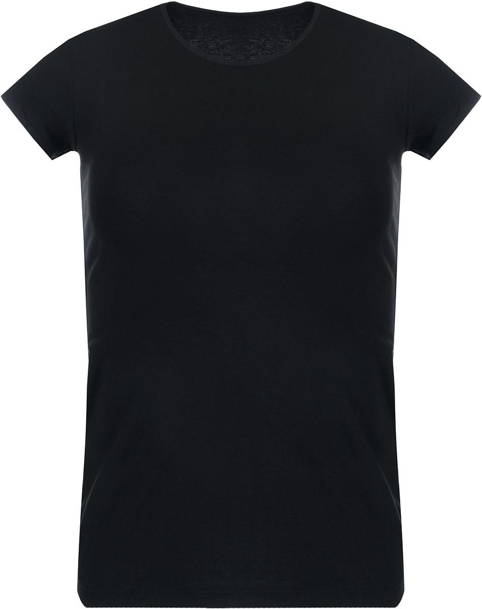 Футболка женская Alla Buone, цвет: черный. 7029. Размер M (44/46)7029Женская футболка Alla Buone, выполненная из эластичного хлопка, идеально подойдет для повседневной носки. Материал изделия мягкий, тактильно приятный, не сковывает движения и позволяет коже дышать. Футболка с круглым вырезом горловины и короткими рукавами имеет приталенный силуэт. Вырез горловины и рукава оформлены мягкой окантовочной лентой. Такая модель будет дарить вам комфорт в течение всего дня и станет отличным дополнением к вашему гардеробу.