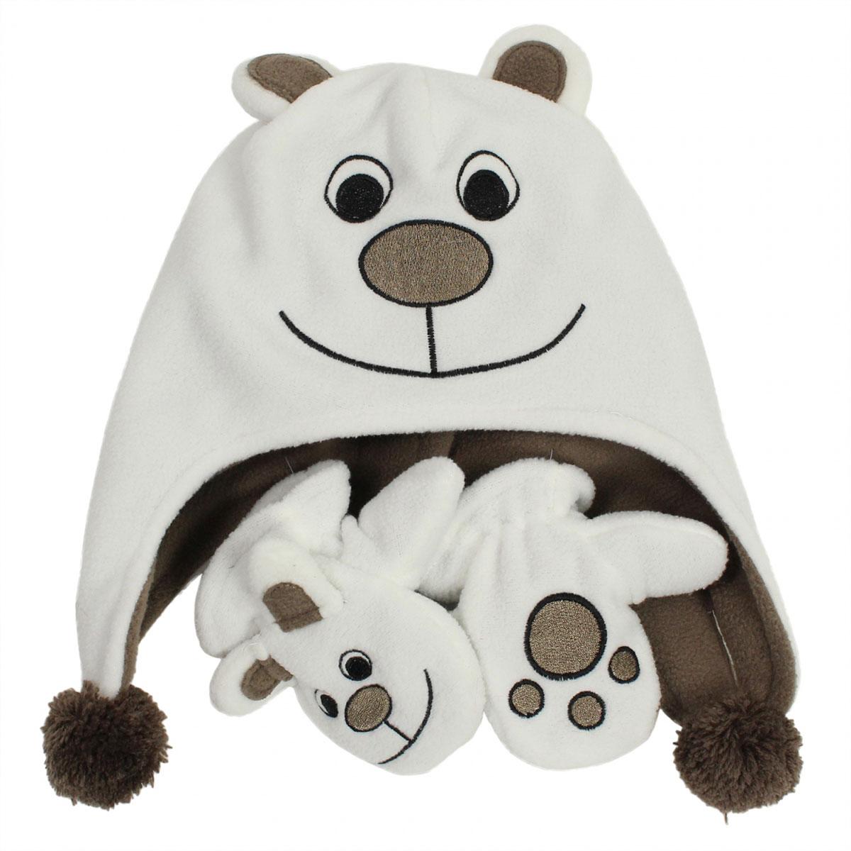 Комплект аксессуаров8819AS14-010Веселый комплект для малышей Huppa Bruno, состоящий из шапки и варежек, выполнен из флиса. Флисовая шапочка в виде медвежонка дополнена двумя помпонами, вышивкой и ушками. Варежки имеют аналогичный шапке дизайн. Уважаемые клиенты! Обращаем ваше внимание на тот факт, что размер шапки доступный для заказа, является обхватом головы.