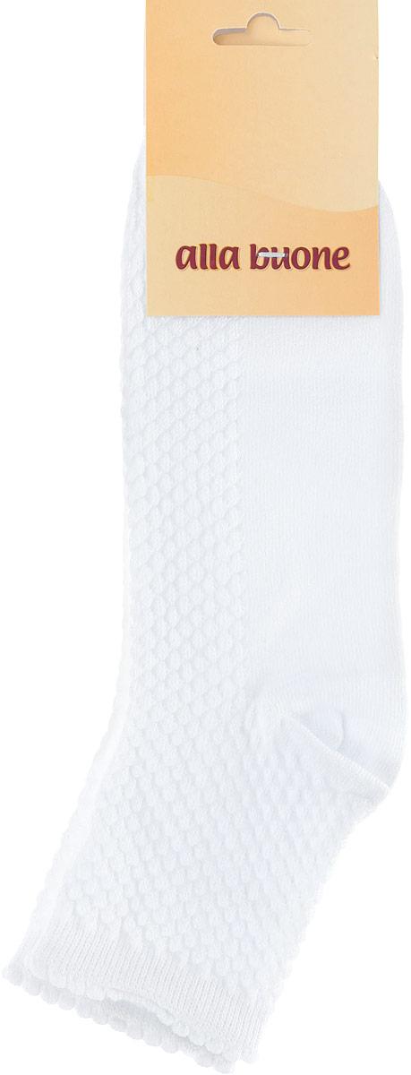 Носки женские Alla Buone, цвет: белый. CD034. Размер 25 (38-40)034CDУдобные носки Alla Buone, изготовленные из высококачественного комбинированного материала, очень мягкие и приятные на ощупь, позволяют коже дышать. Эластичная резинка плотно облегает ногу, не сдавливая ее, обеспечивая комфорт и удобство. Носки с ажурным узором с паголенком классической длины. Практичные и комфортные носки великолепно подойдут к любой вашей обуви.