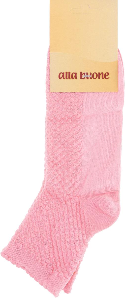 Носки женские Alla Buone, цвет: коралловый. CD034. Размер 25 (38-40)034CDУдобные носки Alla Buone, изготовленные из высококачественного комбинированного материала, очень мягкие и приятные на ощупь, позволяют коже дышать. Эластичная резинка плотно облегает ногу, не сдавливая ее, обеспечивая комфорт и удобство. Носки с ажурным узором с паголенком классической длины. Практичные и комфортные носки великолепно подойдут к любой вашей обуви.