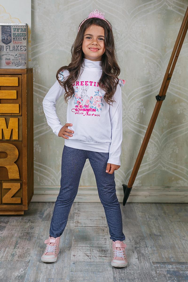 Водолазка205492Водолазка для девочки Sweet Berry изготовлена из хлопка с добавлением эластана и оформлена оригинальным принтом. Высокий воротник надежно защищает от ветра. Рукава оформлены рюшами.