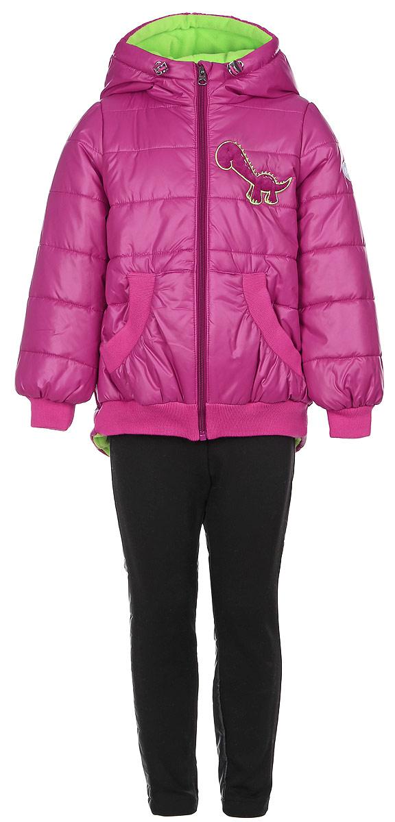 Комплект для девочки Boom!: куртка, брюки, цвет: темная фуксия, черный. 64049_BOG_вар.1. Размер 80, 1,5-2 года64049_BOG_вар.1Комплект одежды Boom!, состоящий из куртки и утепленных брюк, идеально подойдет для вашего ребенка в прохладное время года. Куртка изготовлена из 100% полиэстера. Подкладка выполнена из мягкого теплого флиса, приятная на ощупь. В качестве утеплителя используется синтепон - 100% полиэстер.Куртка с капюшоном застегивается на пластиковую молнию с защитой подбородка и имеет внутреннюю ветрозащитную планку. Несъемный капюшон дополнен затягивающимся шнурком с металлическими стопперами. На рукавах предусмотрены трикотажные манжеты, которые предотвращают проникновение снега и ветра. Спинка модели удлинена. По низу куртка дополнена трикотажными резинками. Спереди расположены два накладных кармана. Изделие украшено декоративными вставками под дракона и аппликацией в виде динозавра. На куртке предусмотрена небольшая светоотражающая нашивка с фирменным логотипом. Брюки изготовлены из разнофактурной ткани. Вставка спереди выполнена из плотного эластичного материала с начесом, сзади - из гладкого материала с тонкой прослойкой синтепона. Брюки, слегка зауженные к низу, имеют на талии широкий эластичный пояс. Такой комплект одежды станет прекрасным дополнением к гардеробу вашего ребенка, он подарит комфорт и тепло.