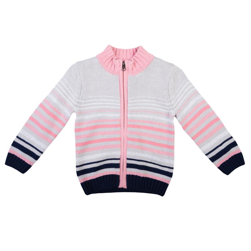 Кофта для девочки PlayToday Baby, цвет: серый, розовый, белый, темно-синий. 368006. Размер 80368006Украшена рисунком в разнокалиберную полоску, есть полоски из сверкающей люрексной нити.