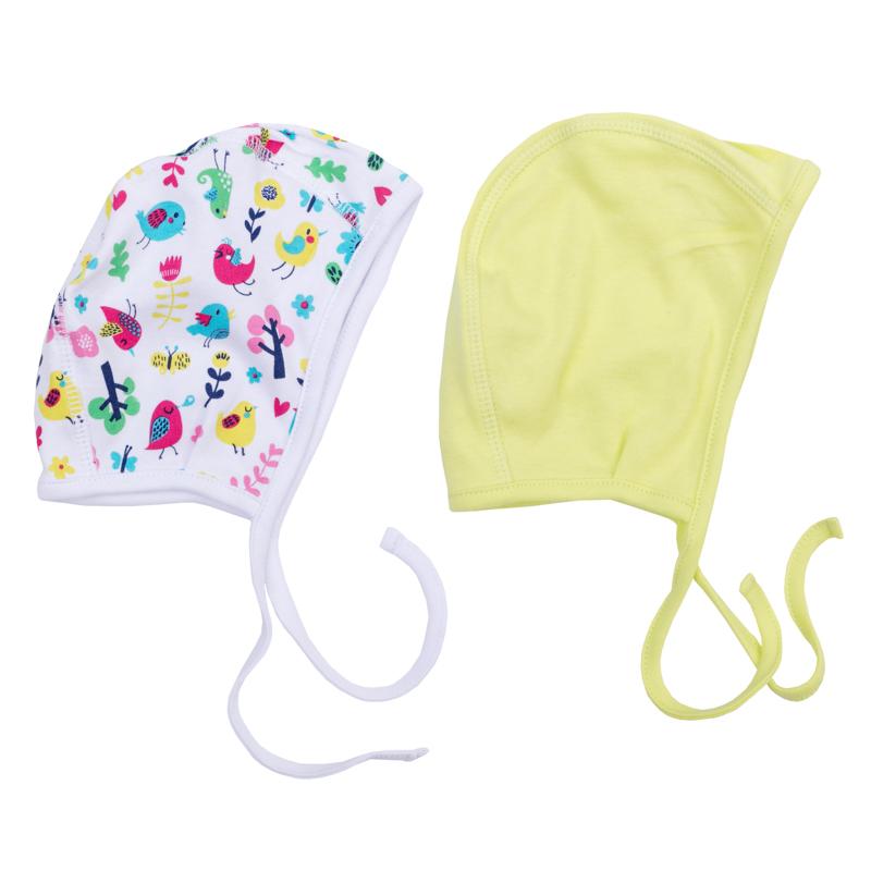 Чепчик для девочки PlayToday Newborn, 2 шт, цвет: салатовый, белый. 368824. Размер 44368824Комплект состоит из двух чепчиков для девочки, выполненных из натурального хлопка. Модели с удобными завязками можно использовать как первый слой в комбинации с вязаными шапками.