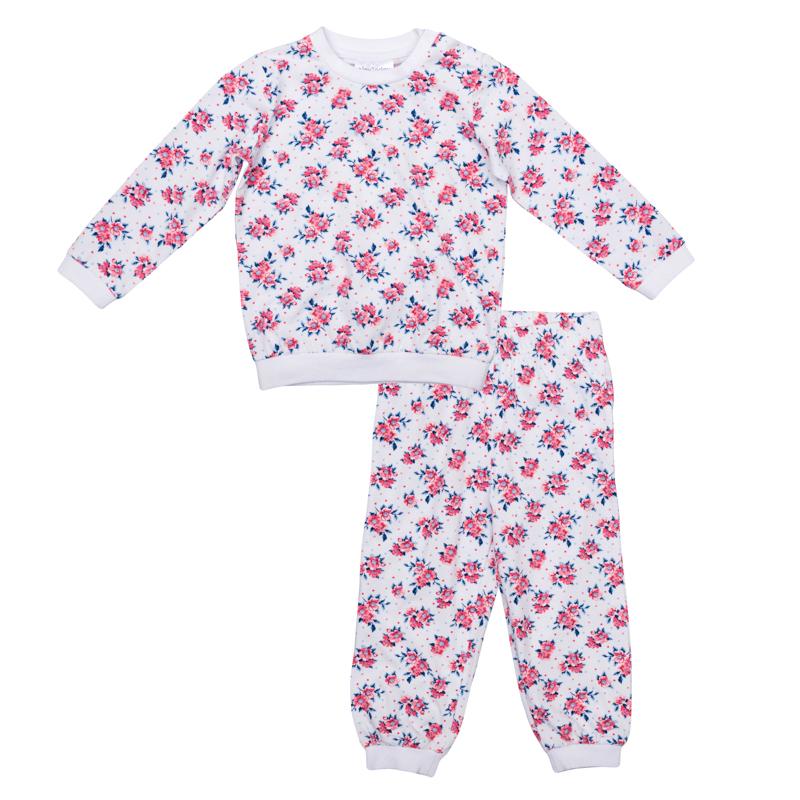 Пижама для девочки PlayToday Baby, цвет: белый, розовый. 368027. Размер 74368027Уютный хлопковый комплект из футболки с длинными рукавами и брюк в нежный цветочек.Рукава и низ толстовки на мягкой трикотажной резинке. Застегивается на кнопки на плече, чтобы ее удобно было снимать. Пояс и низ брюк на резинке.
