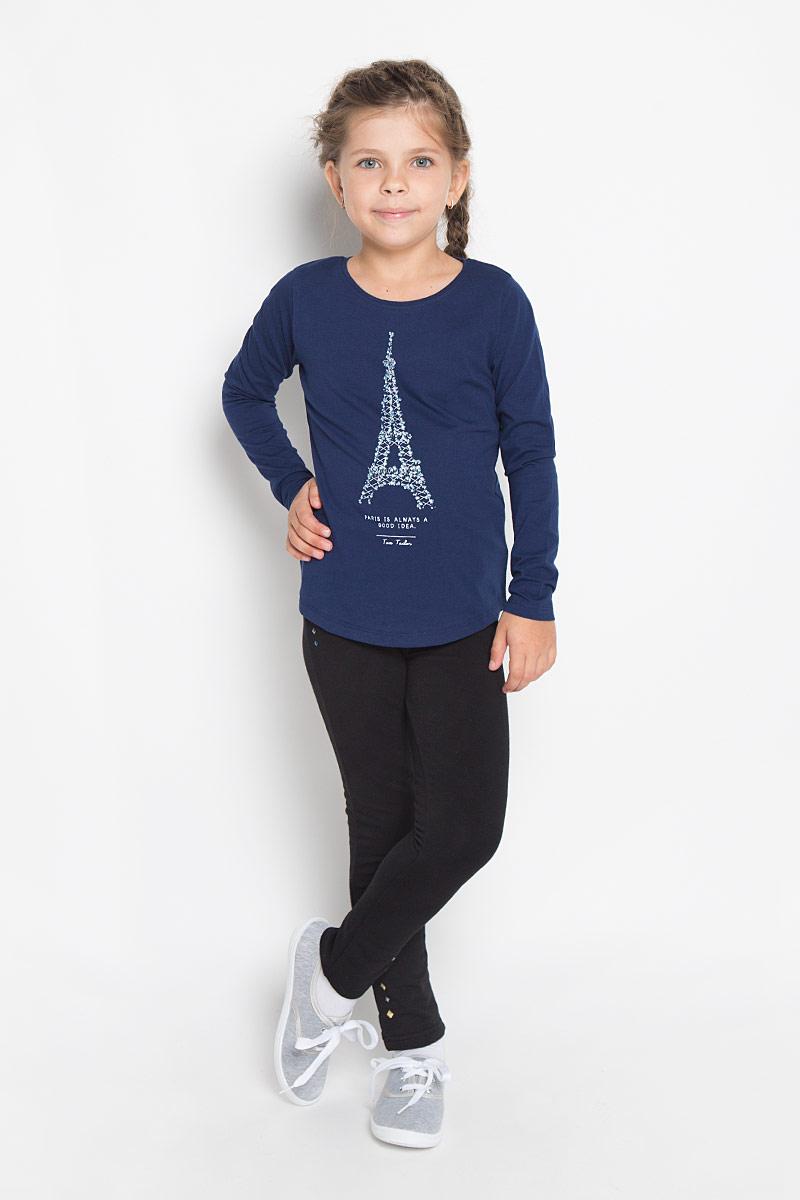 Футболка с длинным рукавом1034546.40.81_6814Модный лонгслив для девочки Tom Tailor, выполненный из хлопка, идеально подойдет для повседневной носки. Материал изделия тактильно приятный, не сковывает движения и хорошо пропускает воздух, обеспечивая комфорт. Модель с круглым вырезом горловины и длинными рукавами оформлена принтом в виде Эйфелевой башни и надписями на английском языке. Дизайн и расцветка делают лонгслив стильным предметом детской одежды, он поможет создать отличный современный образ.