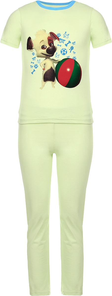 Пижама16506Пижама КотМарКот, состоящая из футболки с коротким рукавом и брюк, идеально подойдет ребенку для отдыха и сна. Модель выполнена из натурального хлопка, очень приятная к телу, не сковывает движения, хорошо пропускает воздух. Футболка с короткими рукавами имеет круглый вырез горловины, оформленный трикотажной резинкой контрастного цвета. Изделие украшено принтом с изображением персонажа мультфильма Белка и Стрелка. Озорная семейка. Брюки прямого кроя имеют на талии мягкую резинку, благодаря чему они не сдавливают животик ребенка и не сползают. В такой пижаме ребенок будет чувствовать себя комфортно и уютно!