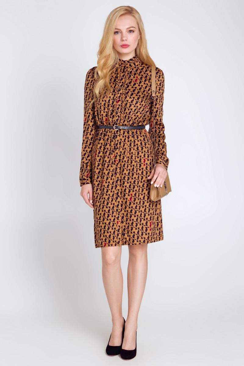 Платье10200200168_900Платье Concept Club Elizabeth выполнено из 100% вискозы. Платье-миди с круглым вырезом горловины и длинными рукавами застегивается на пуговицы по всей длине. Низ рукавов дополнен манжетами на пуговицах. В боковых швах обработаны небольшие разрезы. Спереди модель декорирована небольшими оборками вдоль планки. Платье оформлено оригинальным принтом. К модели прилагается узкий ремень.