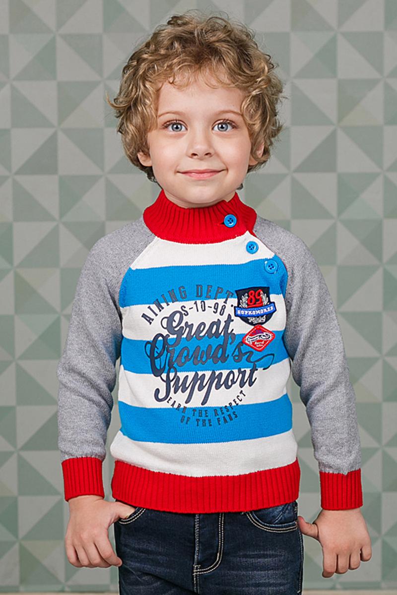 Джемпер206155Джемпер Sweet Berry для мальчика изготовлен из вязаного трикотажа и оформлен принтом. Модель с воротником-стойкой, надежно защищающим от ветра, застегивается сбоку на пуговицы. Воротник, манжеты и низ кофты связаны резинкой.