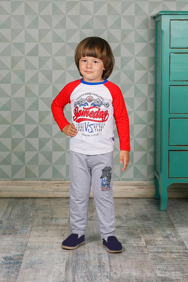 Футболка с длинным рукавом206158Лонгслив Sweet Berry для мальчика выполнен из трикотажного материала с оригинальным принтом. Модель с круглым вырезом горловины и длинными рукавами-реглан. Рукава оформлены контрастного цвета.