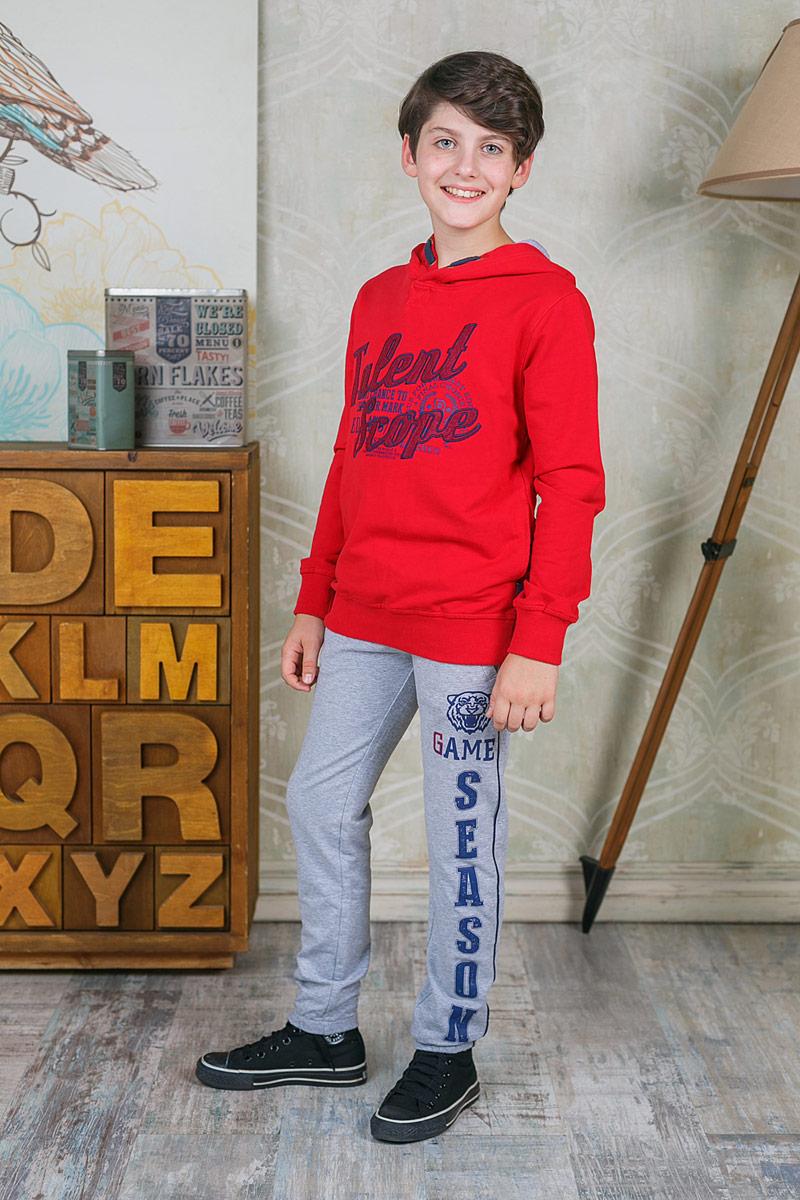 Толстовка для мальчика Luminoso, цвет: красный. 206751. Размер 146206751Толстовка для мальчика Luminoso выполнена из хлопка с добавлением эластана. Модель с капюшон и длинными рукавами дополнена текстильным шнурком.