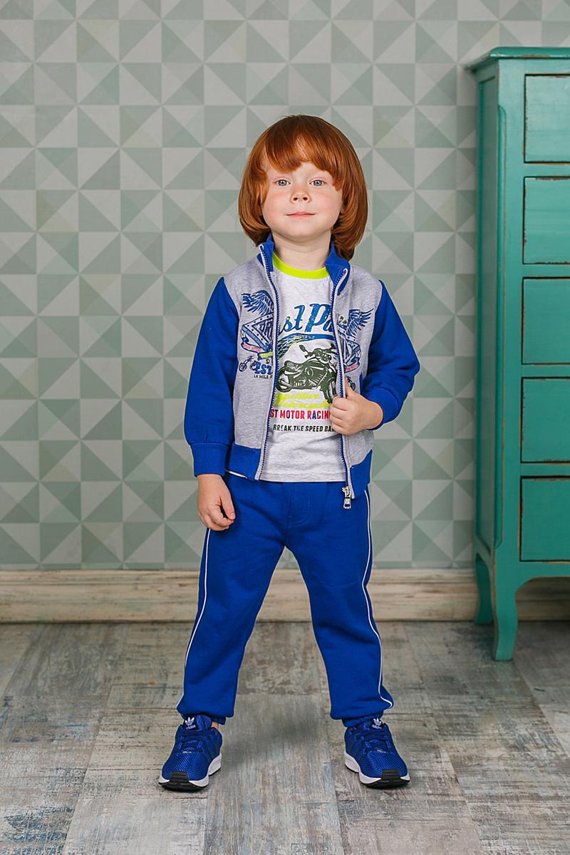 Спортивный костюм206139Спортивный костюм для мальчика Sweet Berry состоит из толстовки и брюк. Костюм изготовлен из трикотажного материала. Толстовка с воротником-стойкой и длинными рукавами застегивается на застежку-молнию, оформлена оригинальным принтом, а также двумя карманами. Манжеты, воротник и низ модели выполнены из трикотажной резинки. Спортивные брюки прямого кроя в поясе имеют широкую эластичную резинку, регулируемую шнурком.
