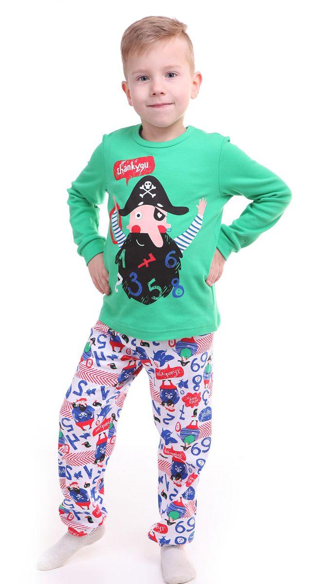 ПижамаР218495Красочная пижама для мальчика Свiтанак состоит из лонгслива и брюк и оформлена забавным принтом с пиратами. Пижама изготовлена из натурального хлопка, она мягкая, приятная на ощупь, не сковывает движения, не сдавливает в области резинки и не натирает в области швов. Воротник лонгслива дополнен мягкой эластичной бейкой. Брюки имеют мягкую, эластичную резинку, которая не оставляет следов на коже и не стягивает живот ребенка. Рукава лонгслива и низ брючин дополнены мягкими трикотажными резинками. Пижама с ярким и современным дизайном прекрасно дополнит гардероб вашего ребенка.