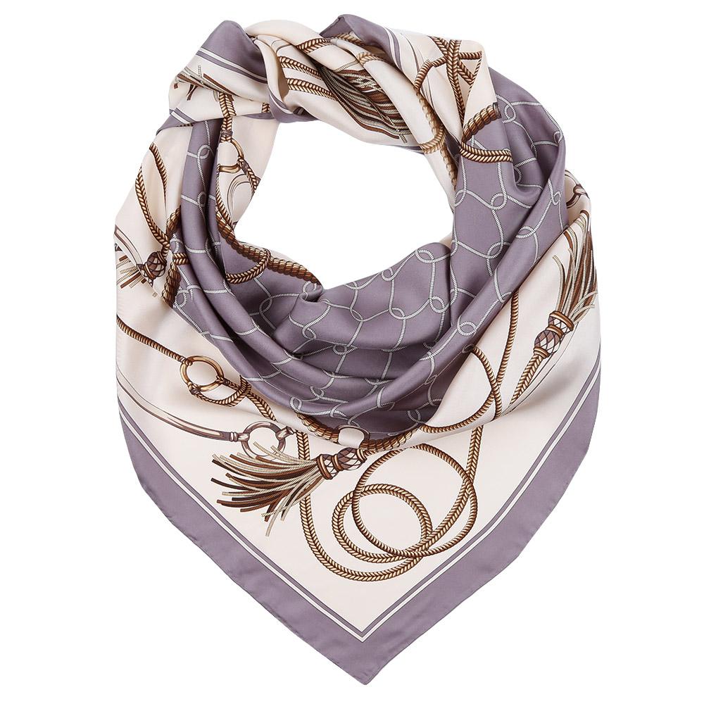 Платок Fabretti, цвет: белый, серый. CX1617-04. Размер 90 см х 90 смCX1617-04-4Стильный платок станет прекрасным дополнением к вашему образу. Оформлен оригинальным принтом.