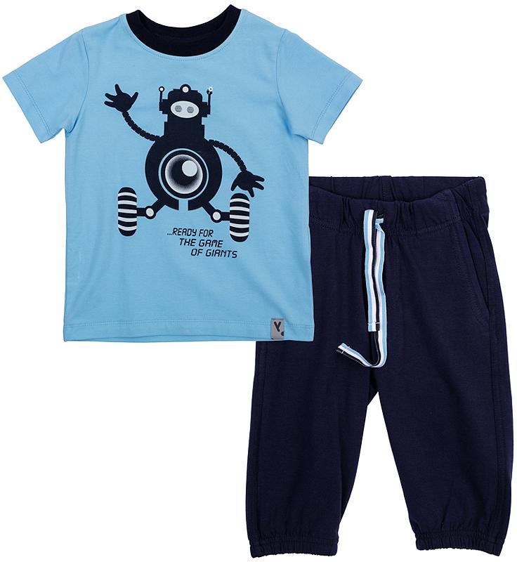Комплект одежды361082Удобный комплект для мальчика, состоящий из футболки и бриджей в спортивном стиле, отлично подойдет как для отдыха, так и для занятий спортом. Футболка с короткими рукавами и круглым вырезом горловины дополнена эластичной трикотажной резинкой на воротнике и оформлена мягким водным принтом с роботом. Бриджи имеют пояс на резинке, дополнительно регулируемый шнурком. По бокам изделие дополнено двумя втачными карманами. Низ брючин дополнен трикотажной резинкой.