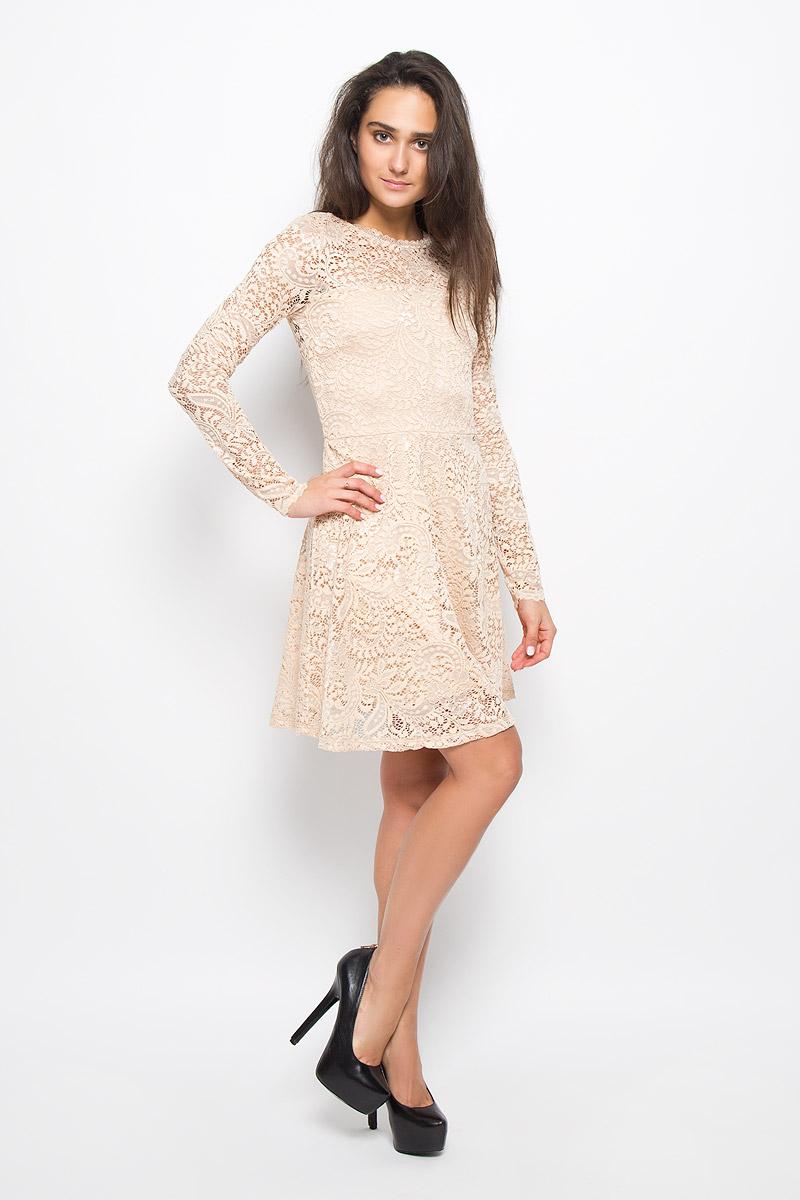 Платье10160867_BlackЭлегантное платье Vero Moda выполнено из высококачественного материала. Такое платье обеспечит вам комфорт и удобство при носке и непременно вызовет восхищение у окружающих. Модель средней длины с длинными стандартными рукавами и круглым вырезом горловины отлично подчеркнет все достоинства вашей фигуры. Верхняя ткань изделия выполнена из мягкого и тянущегося гипюра, спинка оформлена небольшим вырезом. Это модное и комфортное платье станет превосходным дополнением к вашему гардеробу, оно подарит вам удобство и поможет подчеркнуть ваш вкус и неповторимый стиль.