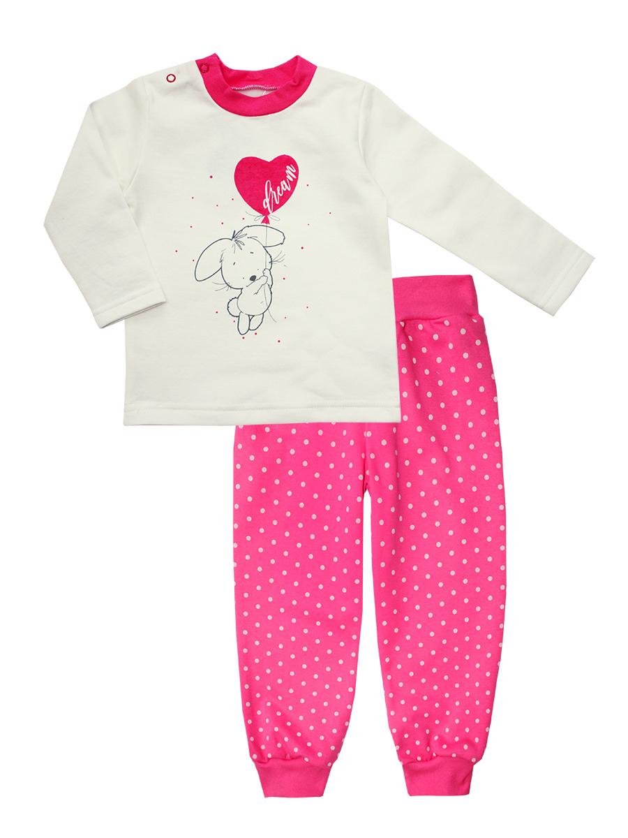 Пижама для девочки КотМарКот Дрим, цвет: белый, розовый. 16170. Размер 110, 5 лет16170Пижама для девочки КотМарКот Дрим включает в себя лонгслив и брюки. Пижама изготовлена из натурального хлопка.Лонгслив с длинными рукавами и круглым вырезом горловины дополнен двумя кнопками на плече для удобства переодевания. Лонгслив оформлен принтом с изображением зайчонка на воздушном шарике.Свободные брюки с широкой эластичной резинкой на поясе дополнены трикотажными манжетами по низу брючин. Модель украшена принтом в горох.